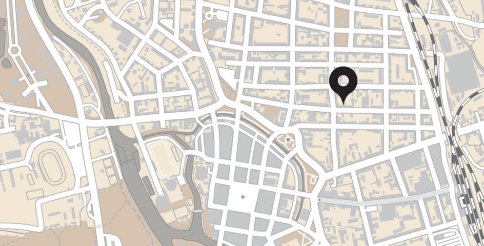 Kreslená mapa s umístěním Riegrovy 51